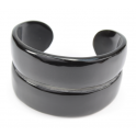 Genuine Natural buffalo Horn - Black open Cuff