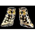 Couple de statuettes en corne de buffle chouettes sysmétriques