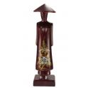 Statuette en bois rouge Miss Saïgon incrustée de nacre Taille 17 cm