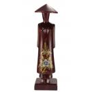 Petite statuette en bois rouge Miss Saïgon incrustée de nacre