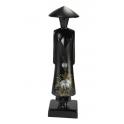 Statuette en bois noir Miss Saïgon incrustée de nacre Taille 16 cm