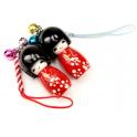 Lot de 2 bijoux de téléphone Kokeshi Poupées japonaises en bois Couleur rouge Taille 4 cm