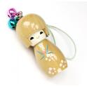 Bijou de sac Kokeshi Poupée japonaise en bois couleur Naturelle Taille 5 cm