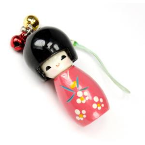 Bijou de sac Kokeshi Poupée japonaise en bois couleur Rose foncé Taille 5 cm