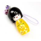 Bijou de sac Kokeshi Poupée japonaise en bois couleur Jaune Taille 5 cm