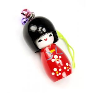 Bijou de sac Kokeshi Poupée japonaise en bois couleur Rouge Taille 5 cm