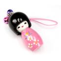 Bijou de sac Kokeshi Poupée japonaise en bois couleur Rose Taille 5 cm