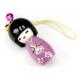 Bijou de sac Kokeshi Poupée japonaise en bois couleur Violette Taille 5 cm