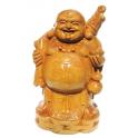Statuette en bois clair Bouddha de la fortune Taille 35 cm