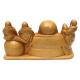 Statuette en bois clair Bouddha et les 5 enfants Largeur 35 cm