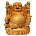 Statuette en bois clair Bouddha de la richesse Taille 28 cm