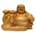 Statuette en bois clair Bouddha rieur Largeur 35 cm