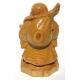 Petite Statuette en bois clair Bouddha de la fortune Taille 15 cm