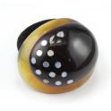 Chou chou Elastique à cheveux en véritable corne naturelle Dome ovale incrusté de nacre