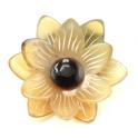 Chou-chou élastique à cheveux en corne de buffle Fleur double centre noir