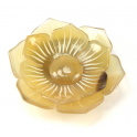 Hair Scrunchy Genuine natural blond Horn - Engraved flower with large petals