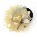 Elastic Ponytail Holder Real natural Horn Engraved daisy flower Blond light horn