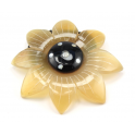 Scrunchy hair elastic Genuine natural Horn Large Flower with mother of pearl inlaid paua shell Blond and black horn