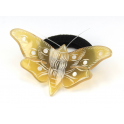 Hair Scrunchy Genuine natural blond Horn - Engraved butterfly with mother of pearl inlaid
