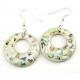 Boucle d'oreille en nacre abalone - Modèle clair cercle percé décentré