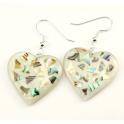 Boucle d'oreille en nacre abalone - Coeur fond clair et paillettes