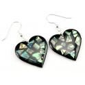 Boucle d'oreille en nacre abalone - Coeur fond noir