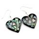 Boucle d'oreille en nacre abalone - Coeur noir