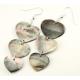 Boucle d'oreille en nacre de Polynésie - Pendentif triple coeur