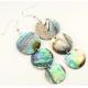 Boucle d'oreille en nacre abalone - Pendentif triple sequin
