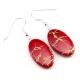 Boucle d'oreille en nacre - Ovale rouge vif  lignes abstraites