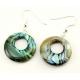 Boucle d'oreille en nacre abalone - Cercle percé décentré double face