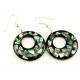 Boucle d'oreille en nacre abalone - Fond noir et paillettes cercle percé décentré