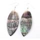 Boucle d'oreille en nacre de Polynésie - Grand ovale gravé
