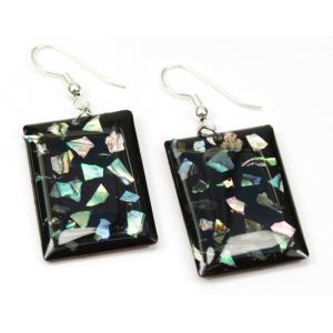 Boucle d'oreille en nacre abalone - Fond noir et paillettes Rectangle