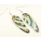 Boucle d'oreille en nacre abalone - Aile et paillettes