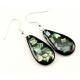 Boucle d'oreille en nacre abalone - Goutte fond noir et paillettes