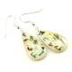 Boucle d'oreille en nacre abalone - Goutte fond clair et paillettes