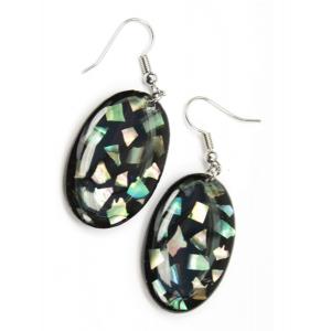 Boucle d'oreille en nacre abalone - Ovale sur fond noir et paillettes