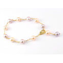 Bracelet Plaqué Or Chaine Perles d'eau douce Pêche et Lavande