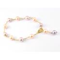 Bracelet Plaqué Or Gold Filled 14 K Chaine Perles d'eau douce Pêche et Lavande