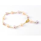 Bracelet ajustable Plaqué Or Chainette Perle d'eau douce Pêche et Lavande