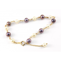 Bracelet 18K Gold Plated Chain Black and White Freshwater Pearl