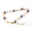 Bracelet Plaqué Or Gold Filled 14 K Chainette Perle d'eau douce Noire et Blanche