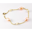 Bracelet 18K Gold Plated Chain White and Peach Freshwater Pearl