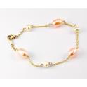 Bracelet Plaqué Or Gold Filled 14 K Chainette Perle d'eau douce Pêche et Blanche
