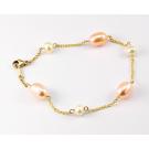 Bracelet Plaqué Or Chainette Perle d'eau douce Pêche et Blanche