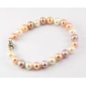 Traditional Bracelet 3 colors Freshwater Pearl Clasp 925 Sterling Silver Rhodium plated