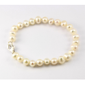 Traditional Bracelet White Freshwater Pearl Clasp 925 Sterling Silver Rhodium plated