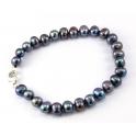 Bracelet traditionnel perle d'eau douce Noire Fermoir en Argent Rhodié