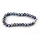 Bracelet traditionnel perle d'eau douce Noire Fermoir argent